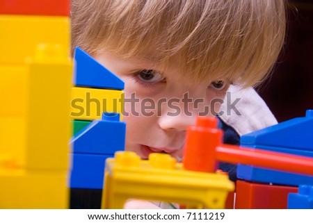 CHILD WITH TOY BLOCKS - stock photo