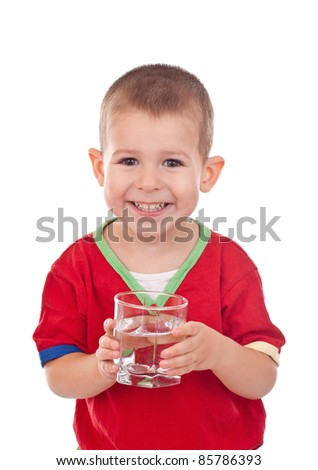 Child with water in glass isolated on white - stock photo