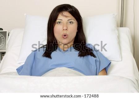 Childbirth, breathing exercises - stock photo
