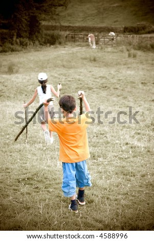 Childhood memories. A walk in the village hills with the family - stock photo