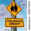 Childhood obesity concept with a traffic road sign showing an icon of overweight kids and young students as a warning to the hazards of eating junk food and fatty fast food. - stock vector