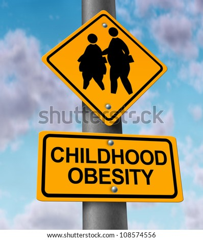 Childhood obesity concept with a traffic road sign showing an icon of overweight kids and young students as a warning to the hazards of eating junk food and fatty fast food. - stock photo