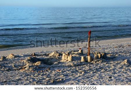 childhood sandcastle on beautiful sanibel florida beach - stock photo