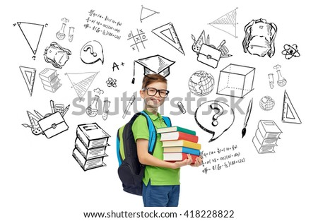 childhood, school, education, learning and people concept - happy smiling student boy in eyeglasses with school bag and books with doodles - stock photo