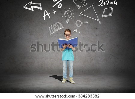 childhood, school, education, math and people concept - happy little girl in eyeglasses reading book over concrete room background with mathematical symbols - stock photo