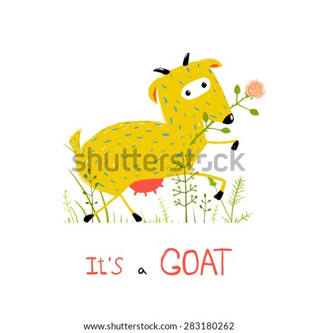Childish Colorful Fun Cartoon Goat Eating Flower. Funny animal illustration for children. Raster variant. - stock photo