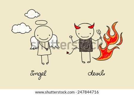 Childish drawing of cute devil and angel with flames and clouds - stock photo