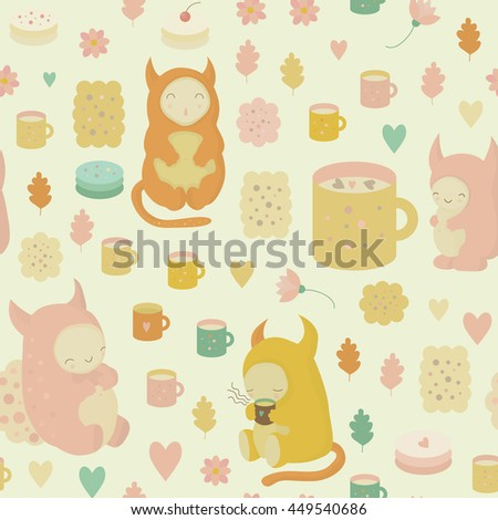 Childish dreamy seamless background with cute monsters, tea, mugs, cookies, cakes, cocoa and flowers - stock photo