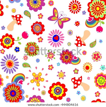 Childish funny wallpaper with hippie symbolic