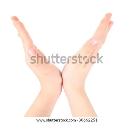 childish hands represents letter V from alphabet