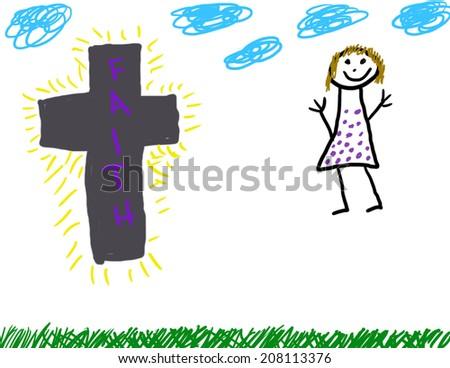 Childlike drawing of Christian faith - stock photo