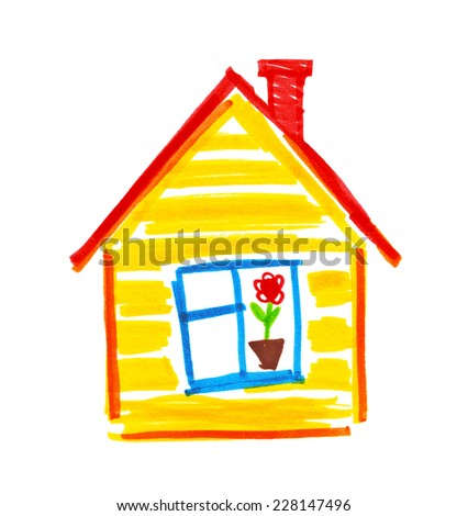 Childlike drawing of house.  - stock photo