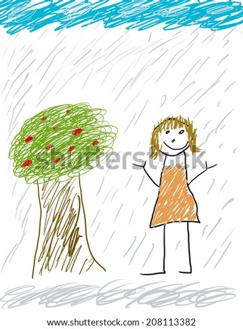 Childlike drawing of playing in the rain - stock photo