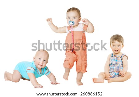 Children Active Growth Portrait, Little Kids from 6 months to 1 year old, Baby Activity Crawling Sitting and Standing Boy - stock photo