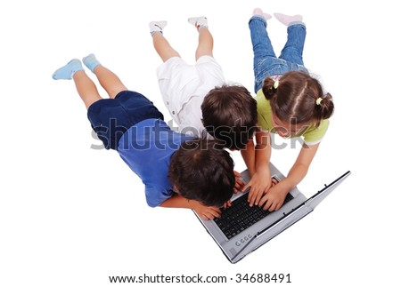 Children activities on laptop isolated in white - stock photo