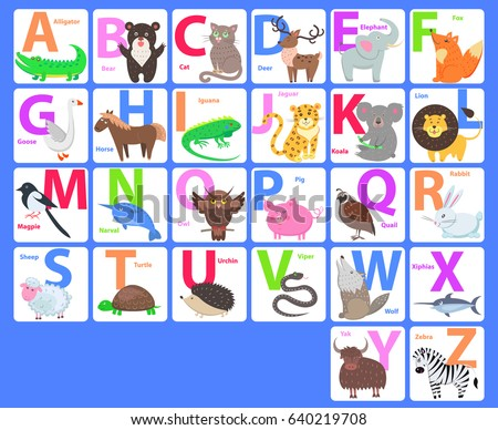 children alphabet animals letters a b stock illustration 640219708