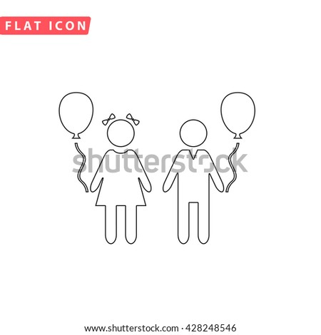 Children and Balloon. Black outline simple pictogram on white. Line icon - stock photo