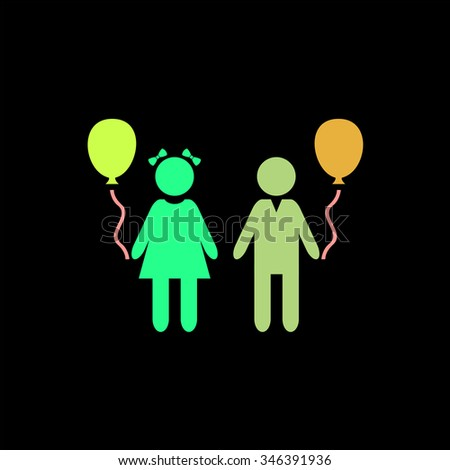 Children and Balloon. Colorful symbol on black background - stock photo