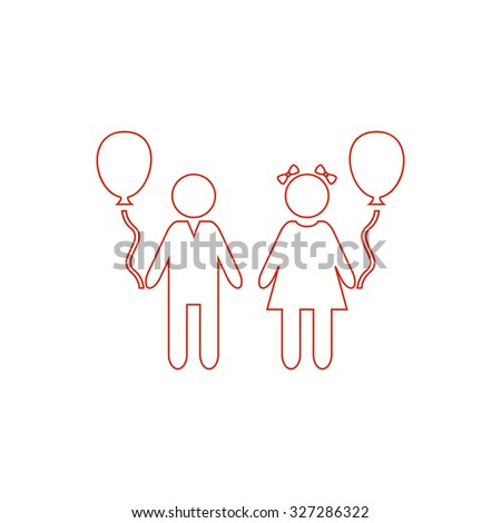 Children and Balloon. Red outline illustration pictogram on white background. Flat simple icon - stock photo