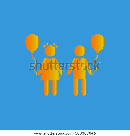 Children and Balloon. Simple flat icon on blue background - stock photo