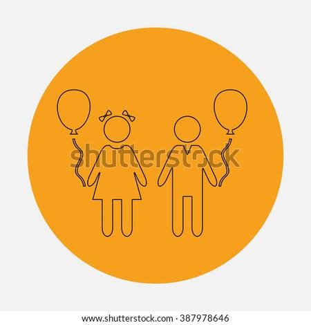 Children and Balloon. Simple flat icon on orange circle - stock photo