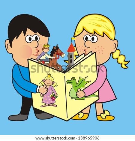children and book - stock photo