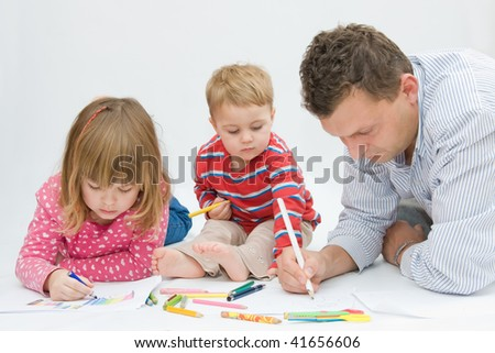 children and father drawing on white paper - stock photo