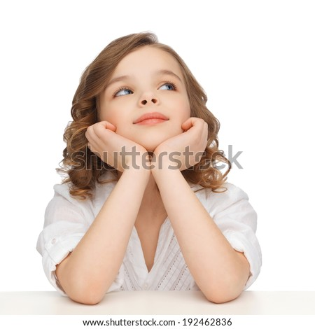 children and happy people concept - picture of pre-teen girl in casual clothes looking up and thinking - stock photo
