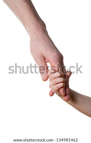children and man hands isolated on white - stock photo