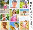 children and summer collage - stock photo