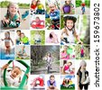children are involved in sports. collage of photos - stock photo