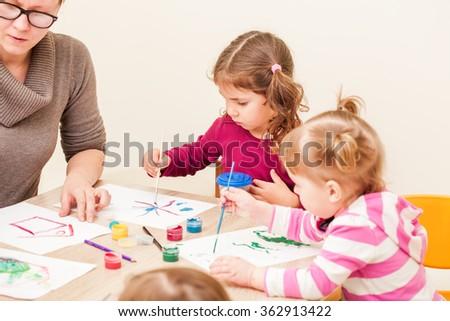 Children are painting  - stock photo