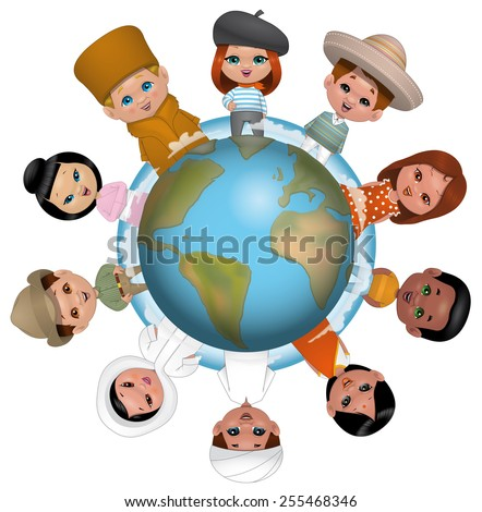 Children around the world - stock photo