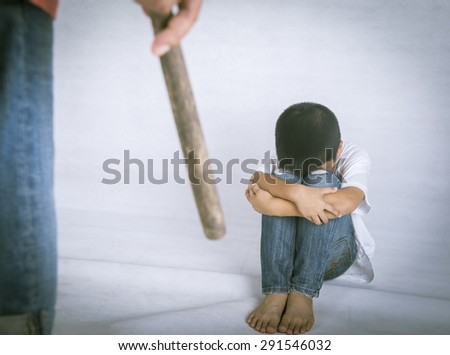 Children assaults, fear, being seduced and abandoned. - stock photo