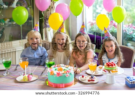 Children at a birthday party at home