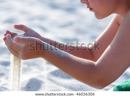 Children at the breach at various beaches in New England - stock photo