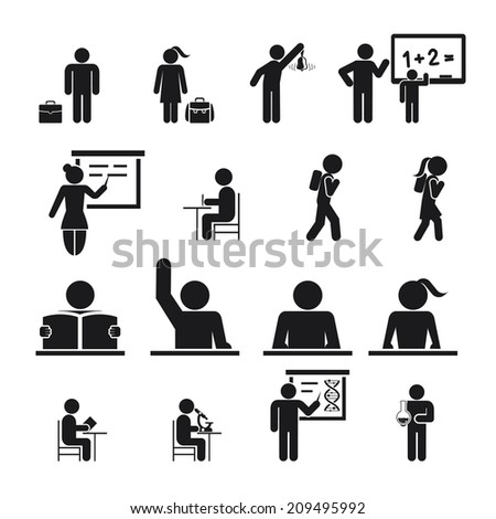 Children Back to School Icons silhouettes illustration - stock photo