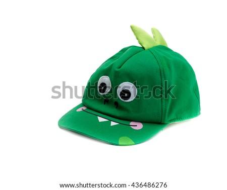 Children baseball cap crocodile. Isolate on white. - stock photo