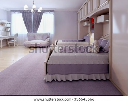 Children bedroom with sofa and desk. Tick pile carpet, spacy room with purple theme. 3D render