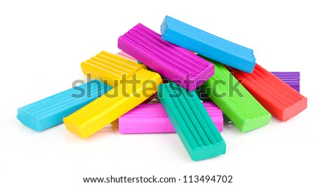 Children bright plasticine isolated on white
