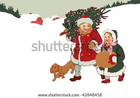 Children bundled up, walking in the snow, and carrying their fresh-cut Christmas tree - a 1908 vintage illustration.