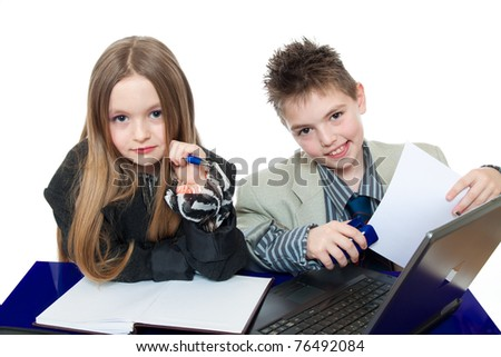 Children, business people isolated on white - stock photo