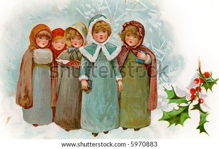 Children Christmas Carollers - a circa 1900 vintage illustration - stock photo