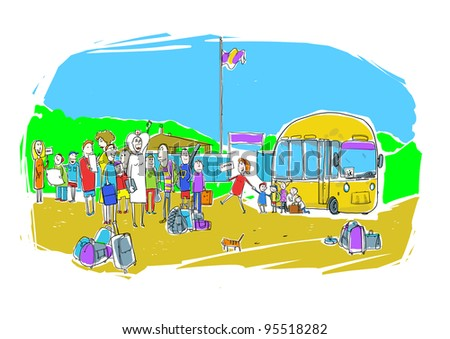 Children come to camp - stock photo