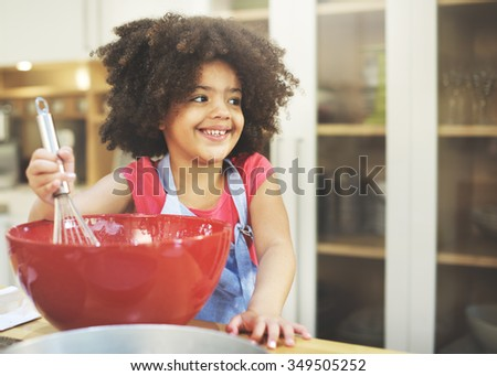 Children Cooking Happiness Activitiy Home Concept - stock photo