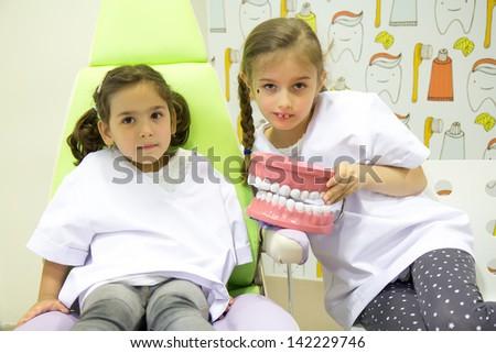 Children dentist - stock photo