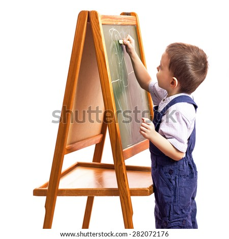 children draw with chalk on a blackboard white background - stock photo
