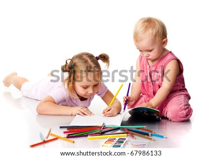 Children drawing isolated on white - stock photo
