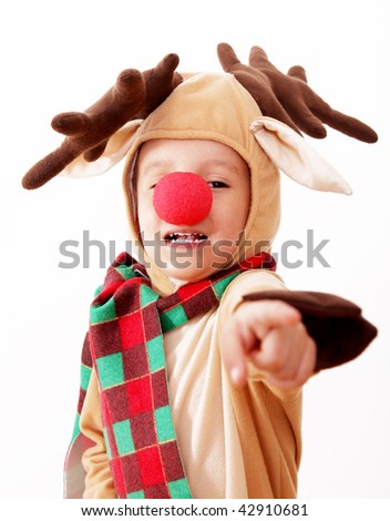 Children dressed as Rudolf the Red Nosed Reindeer