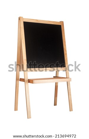 Children easel with blackboard isolated on white background  - stock photo